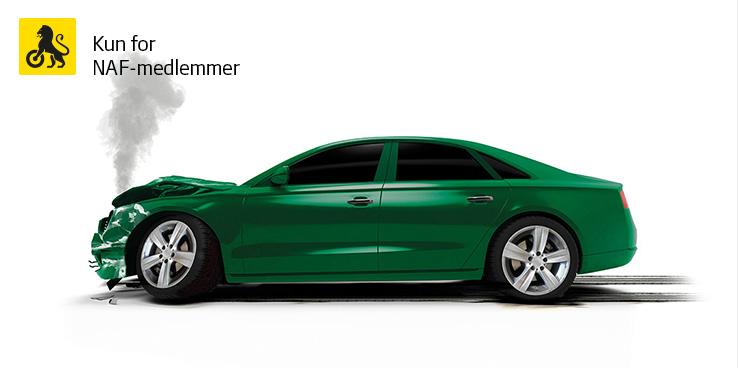 Grønn bil som har kræsjet